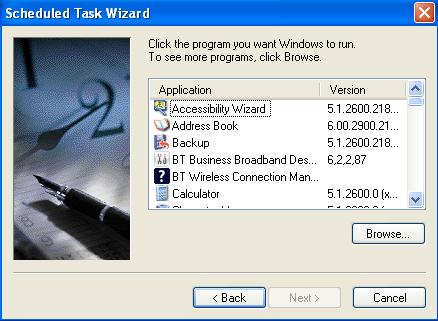 Windows XP Schedule Wizard