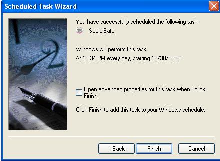 Windows XP Schedule Task Confirmation
