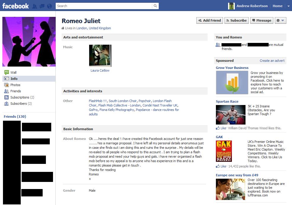romeo juliet facebook flash mob