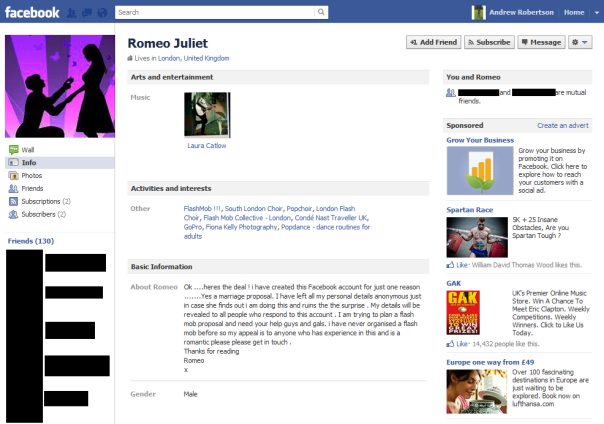romeo juliet facebook flash mob