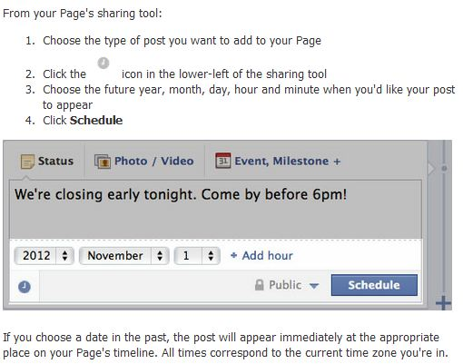 facebook page post scheduling