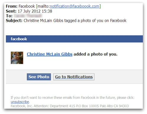 Facebook Malware email