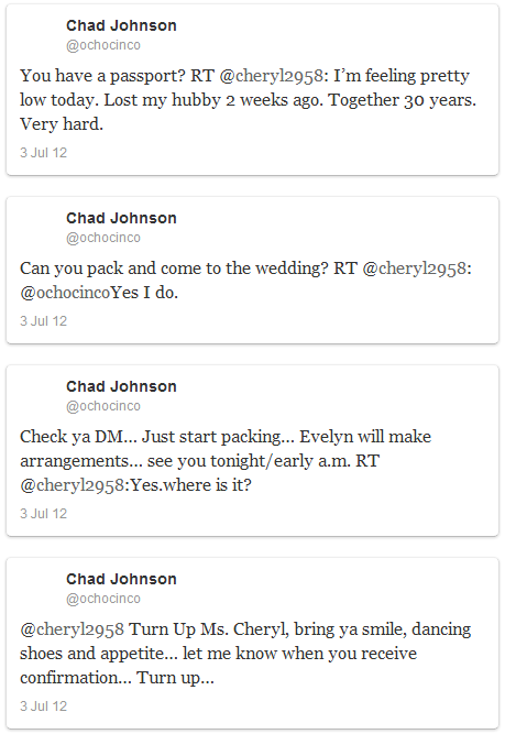 Ochocinco invites twitter user to his wedding