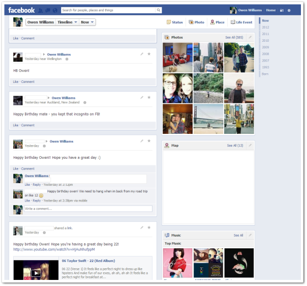 New Facebook Timeline / via TheNextWeb