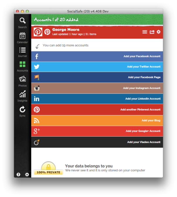 SocialSafe v6.5 - new look 'Add Account' screen