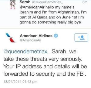 American Air Twitter Threat