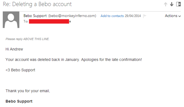 deleting a bebo account